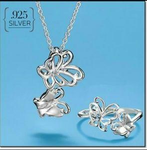 Avon Sterling Silver Fluttering Butterfly Necklace